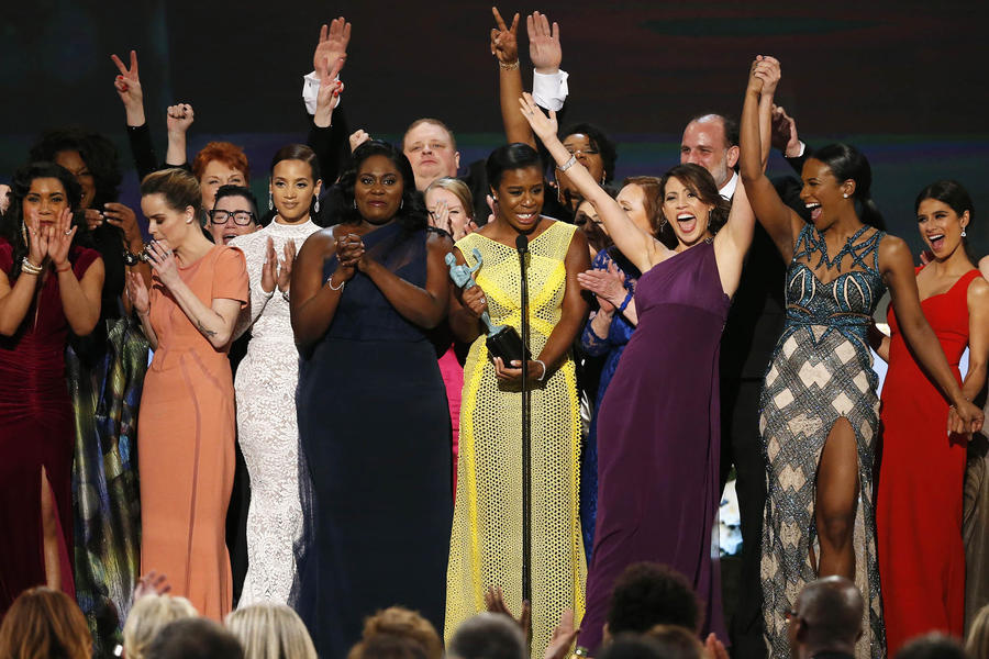 """UZO ADUBA OF THE NETFLIX SERIES """"ORANGE IS THE NEW BLACK"""" ACCEPTS THE AWARD FOR OUTSTANDING PERFORMANCE BY AN ENSEMBLE IN A COMEDY SERIES ALONG WITH HER FELLOW CAST MEMBERS AT THE 21ST ANNUAL SCREEN ACTORS GUILD AWARDS IN LOS ANGELES"""